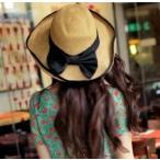 草帽 - 2wayリボン付き麦わら帽子 ストローハット UV対策 UVカット 紫外線対策 折りたたみ かばん収納 レディース帽子 つば広 柔らか素材 ビーチ ふ
