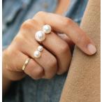指輪 オープンリング フォークリング パール調 ゴールドカラー デザインリング 2サイズ レディース アクセサリー ジュエリー プレゼント ギフト 誕