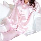 ショッピングサテン シルク サテン パジャマ レディース 長袖 前開き シンプル ドット模様 しなやかな肌ざわり ピンク サイズ M
