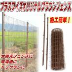【ブラウン】 アニマルフェンス 1.0×20m フェンス(金網)と支柱11本のセット 太陽光発電 建築現場 フェンス シンセイ シN直送
