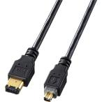 【在庫目安:お取り寄せ】サンワサプライ  KE-1346-2BK IEEE1394ケーブル(6pin-4pin・2m・ブラック)