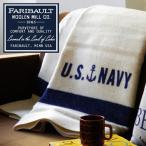 ショッピングひざ掛け ブランケット ひざ掛け アメリカ Faribault Woolen Mill US Navy Cream 送料無料