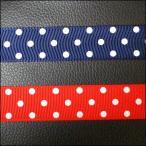 グログラン リボン テープ レース ドット 大水玉ドット柄 紺 赤 幅約25mm 10cm単位販売  サテン フリル オーガンジー ハンドメイド 手作り シュシュ 衣装 布