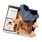 御祝いネズミの出産祝い コトハコーヒーギフト ブラックチェックリボンスタイ baby-gift-mouse-black