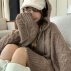 送料無料 ニットセーター パーカー ケーブル編み 暖かい ゆったりざっくり 可愛い 女子力アップ