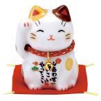 置物 陶製 彩絵 福招き猫 茶ブチ 敷物付 京都  かわいい 和風 手作り 小物 和雑貨 四季 なごみ 飾り 贈り物 おしゃれ