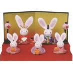 雛人形(ひな人形) ひなまつり    段飾り 兎5人雛手作りちりめん細工 コンパクト ひなまつり