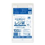 バイオマスプラスチック使用レジ袋 厚手タイプ ブロック有 西日本40号(東日本30号) 0.017mm厚 乳白 100枚 1冊300円 BPRS-40bara
