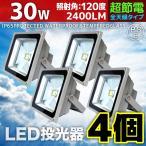 4個セット LED 投光器 LEDライト ワーク ライト 30W 300W相当 広角120度 防水 防塵 3mコード付き 昼光色 白色 看板灯 集魚灯 作業灯 駐車場灯 A42CSET4