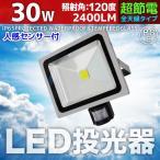 人感センサーライト LED投光器 30W 300W相当 防水 防雨 昼光色 3mコード付 防犯 作業灯 駐車場灯 屋内 屋外 照明 A42SC