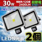 人感センサーライト LED投光器 30W 2個セット 300W相当 防水 防雨 昼光色 3mコード付 防犯 作業灯 駐車場灯 屋外 照明 A42SCSET2