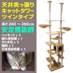 5個限定セール 天井突っ張りキャットツインタワー ねこタワー 猫タワー 多頭飼い 全高240〜260cm ネコ 爪とぎ ハウス ハンモック A55CATWA