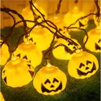 ハロウィン ledイルミネーション ソーラー式 20球 パンプキンライト ハロウィン電飾 飾りライト パンプキンランタン パンプキ
