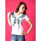 イタリア製 EAN13 スワロフスキー 胸元スカーフプリント  Tシャツ ホワイト/サンドベージュ/エメラルドグリーン 1J11FL