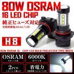 C27系 セレナ ハイウェイスター LED フォグランプ H8 80W OSRAM 6000K/ホワイト 2個/1セット