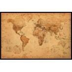 アンティーク スタイル 世界地図 WORLD MAP antique style ポスター フレームセット(110105)
