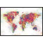 世界地図 ポスター フレームセット  World Map (Colour Splash) (180524)