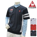 le coq-ルコック- MENS (メンズ) 重ね着シャツ ハイネック長袖ウェア付き QG5590CP 春夏モデル Vネック 半袖ブルゾン 17