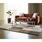 ベルギー製 ウィルトンラグ/絨毯 〔ブラウン 約240cm×330cm〕 長方形 高耐久ヒートセット加工 『スタイリッシュブロック』