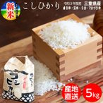 三重県産 コシヒカリ 5kg 送料無料 新米 白米 玄米 5分 7分 分つき米 三重 米 お米  精米 5キロ こしひかり ブランド米
