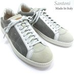Santoni サントーニ スニーカー レザーシューズ SA13807 CLUB グレー スエード メンズ 在庫セール