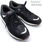 Santoni サントーニ スニーカー レザーシューズ SA13323 CLUB ダークブルー/迷彩柄 メンズ 在庫セール