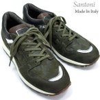 Santoni サントーニ スニーカー レザーシューズ SA13323 CLUB カーキグリーン/迷彩柄 メンズ 在庫セール
