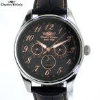 シャルルホーゲル 腕時計 メンズ CV-9075-0 BK/PG マルチファンクション 日本製クォーツ レザー