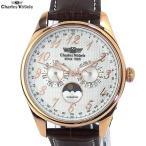 シャルルホーゲル 腕時計 メンズ CV-9075-1 PG/WH マルチファンクション 日本製クォーツ レザー
