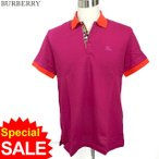 BURBERRY LONDON バーバリー メンズ 半袖 ポロシャツ 8000918 プラムピンク Plum Pink アジア向けサイズ 鹿の子
