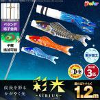 ベランダ用 こいのぼり 彩光鯉 SIRIUS 1.2m 6点セット 格子金具付属 ベランダ スタンダードセット