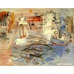 絵画 インテリア デュフィ「帆船のある港」所蔵 パリ市近代美術館[原画同縮尺近似8号]
