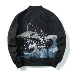 スカジャン 長袖 メンズジャケット MA-1 刺繍 ミリタリー カジュアル クジラ  鯨 横須賀風 バイクジャンパー  秋冬物 ポイント消化