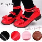リボン付きロリータ靴 大きいサイズ コスプレ カラー4色