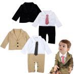 ベビー服 フォーマル スーツ風 ネクタイ付きワイシャツ コート ロンパース 2点セット ブラック 黒 送料無料 70 80 90
