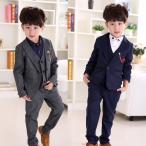 子供服 スーツ コート コットン生地 ズボン ベスト 3点セット 送料無料 グレー 灰色 ネイビー 青 100 110 120 130 140 150 160