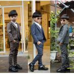 子供スーツ フォーマル 男の子 ジャケット ズボン ベスト 3点セット 送料無料 大きいサイズ チェック柄 コーヒー ブルー グレー 100 110 120 130 140 150 160
