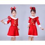 サンタ コスプレ サンタコス キッズ クリスマス 衣装 ハロウィン 仮装 子供 ワンピース 膝丈 フード付き カチューシャ リボン 長袖 110-150 赤 白 送料無料