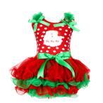 サンタ コスプレ ワンピース キッズ クリスマス 衣装 ハロウィン 仮装 子供 ガールズ ショート丈 フリル ボリューム リボン ドット柄 赤緑 80-120 送料無料