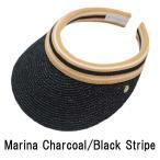 ショッピングヘレンカミンスキー Marina サンバイザー Charcoal / Black Stripe ヘレンカミンスキー HELEN KAMINSKI 紫外線対策 UVカット ゴルフ用にも