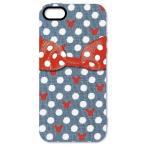 ショッピングビッツ (即納)ドットリボンiPhoneSE/iPhone5S/iPhone5専用シェルジャケット ネイビー(メール便送料無料)[生産終了品]
