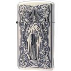 ZIPPO(ジッポー) オイルライター ディープエッチング アラベスクマリア スリム 銀いぶし 63210198 おしゃれ シルバー デザイン タバコ 両面 かっこいい キリスト