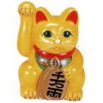 常滑焼 招き猫 美園 風水手長小判猫(右手) 黄色 8号 高さ:28cm 8E15