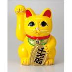 常滑焼 招き猫 美園 風水手長小判猫(右手) 黄色 13号 高さ:40.5cm