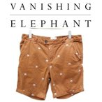 新品 正規輸入品 海外で話題の VANISHING ELEPHANT バニシングエレファント 総柄ショーツ 大人カジュアル ポップで可愛い刺繍 メンズ レディース 短パン W28
