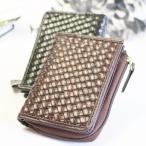 コインケース 財布 L字ファスナータイプ 編み込みデザイン メッシュデザイン メンズ コンパクト 小さめ