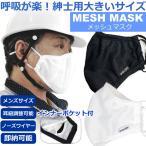 送料無料 即納 大きいサイズ メンズマスク メッシュマスク ノーズワイヤー入り 花粉対策 洗える インナーポケットあり 夏用 紳士 男性用マスク 息がしやすい