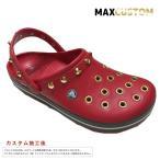 ショッピングサボ クロックス パンク カスタム クロックバンド 純金メッキ加工 赤 レッド crocs custom サンダル メンズ レディース