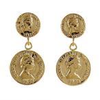 ネックレス レディース 18金 18金ネックレス ピアス 18k シンプル コイン イエローゴールド 地金メダル メダリオン エリザベス スタッドピアス 安い