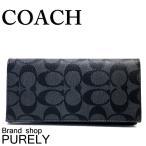 コーチ COACH 財布 メンズ シグネチャー PVC ブレスト ポケット ウォレット 長財布 F75013 CQ/BK チャコール×ブラック